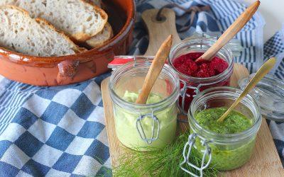 3x vega smeersels voor bij de borrel of op brood